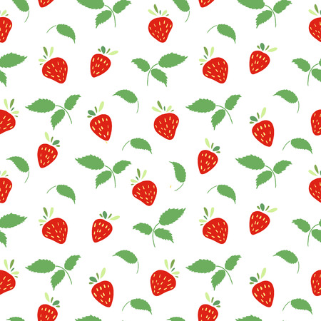 cartoon berries: Seamless pattern with strawberries and leaves. Simple colors. Vector.