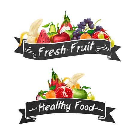 Template logo or decoration in retro style. Ribbons and different set of fruit in a watercolor style. Vector. Ilustracja