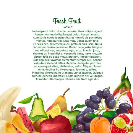 흰색 배경에 수채화 스타일에서 과일로 만든 장식 디자인 템플릿 브로셔 또는 전단지. 당신의 텍스트를 놓습니다. 벡터. 일러스트