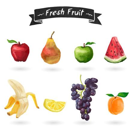 Zestaw owoców w stylu akwareli. Ilustracje wektorowe
