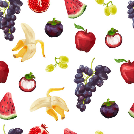 red grape: Seamless pattern with tropical fruits and grapes. Watercolor style. vector.