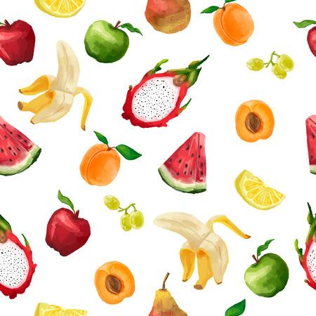 Jednolite wzór z różnych owoców w stylu akwarela jasnym kolorze. Na białym tle. Wektor.
