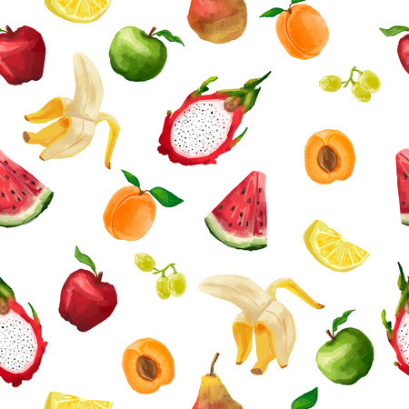 Seamless pattern of different fruits in a watercolor style light color. On a white background. Vector. Vettoriali