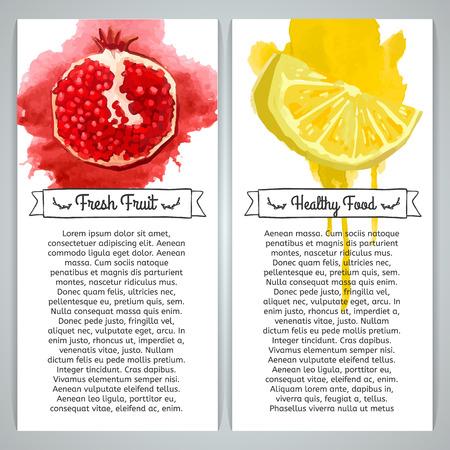 CITRICOS: Conjunto de folletos plantilla verticales o postales. Fruta de la granada y limón en estilo de la acuarela. La textura de la acuarela. Lugar para el texto. Vector. Vectores