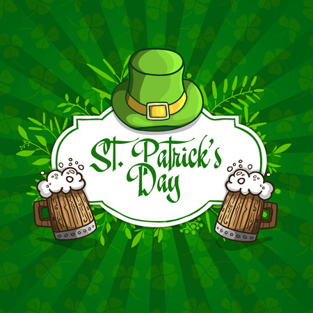 irish beer label: Template design banners, logos, signs, posters for St. Patricks Day. Hat, beer and plants in a cartoon style. On green seamless background with clover. Vector Illustration