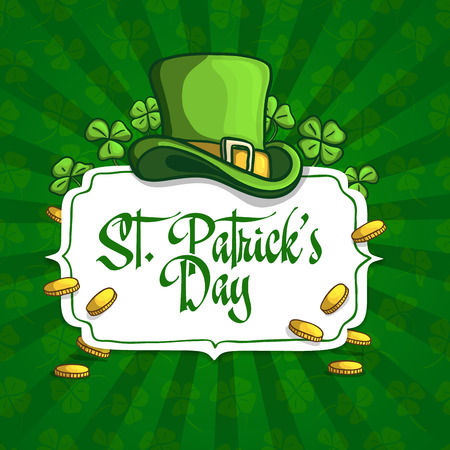 clover banners: Template design banners, logos, signs, posters for St. Patricks Day. Hat, clover and coins in cartoon style. On green seamless background with clover. Vector Illustration