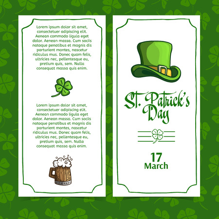 irish pub label: Template design brochures, posters, menu, banners for St. Patricks Day. Place for your text. Vector