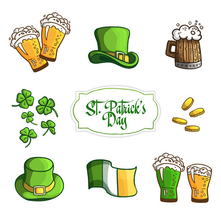 Set Items for holiday St. Patricks Day. In cartoon style. Vector Illustration