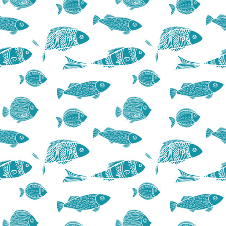 Seamless two color pattern. Blue silhouettes of fishes on a white background. Vector