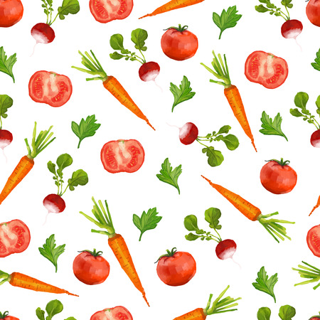 Seamless pattern with radishes. Watercolor style. vector Stock Illustratie