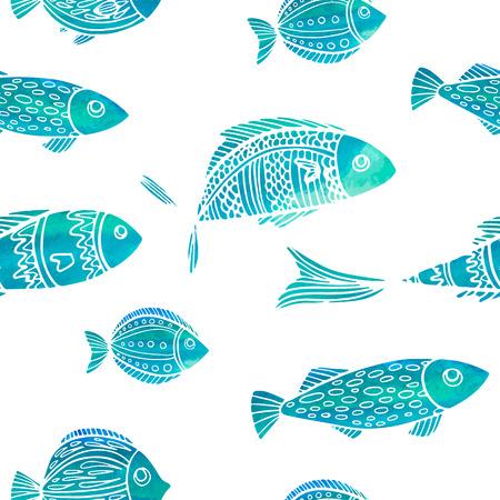Modelo inconsútil con los pescados de la acuarela. Doodle estilo. Vector