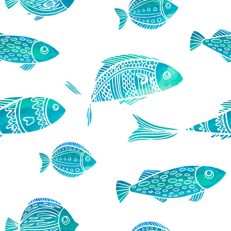 Seamless pattern with watercolor fish. Doodle style. Vector