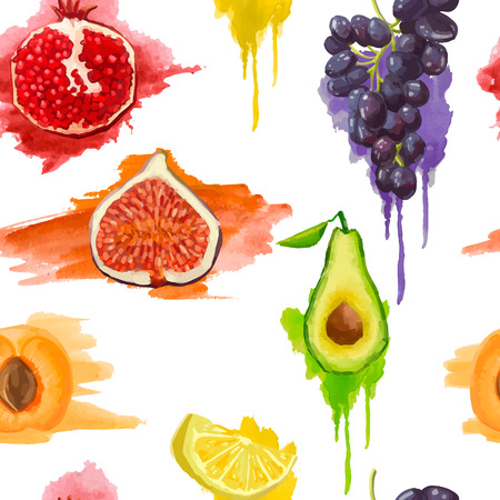 Seamless pattern. Fruits with watercolor splashes. On a white background. Vector Illustration