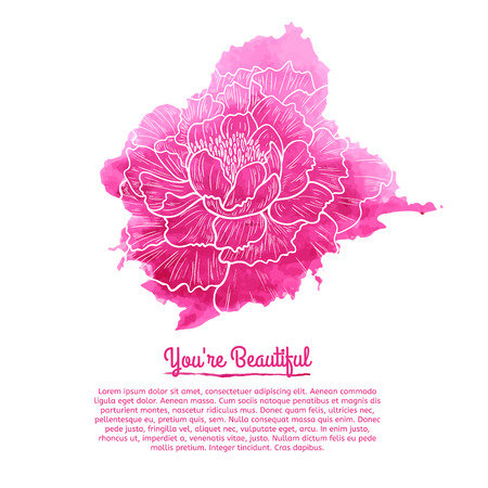 Template cards. Pink watercolor stain with a linear pattern peony. Place for your text. Vector