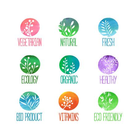 elements: Conjunto de logotipos o sellos. Siluetas de ramas, hojas, plantas, bayas. Textura de color de la acuarela. Ilustración vectorial