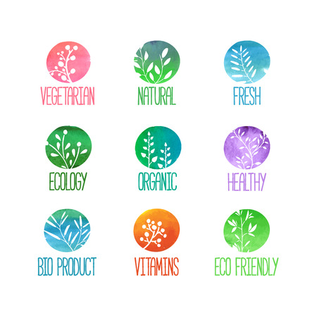 Set of logos or stamps. Silhouettes of twigs, leaves, plants, berries. Colored watercolor texture. Vector illustration Иллюстрация