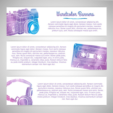 oldie: Set of templates or horizontal banners with silhouettes of cards retro items. Watercolor texture. Place for your text. Vector