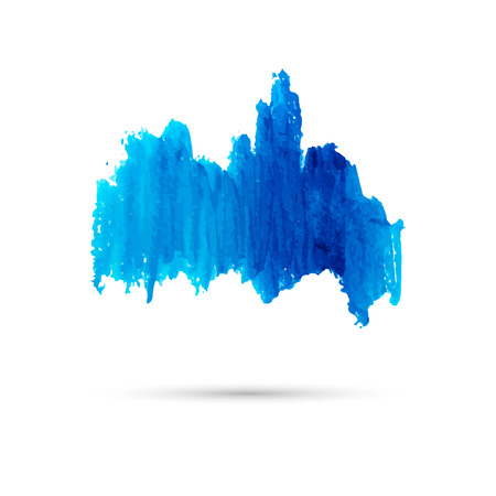 Blue watercolor stain. Template for text or graphics. Vector