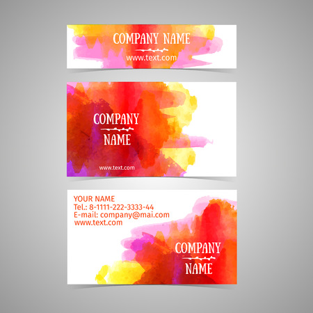 place card: Business card template. Rad and yellow watercolor texture. Abstract splash. Place for your text, logo, name. Vector