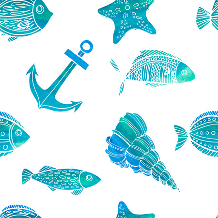 star fish: Seamless pattern. Nautical theme. Watercolor texture. Vector