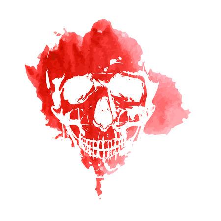 calavera: Imprima de un cráneo humano en una acuarela mancha roja. Vector Vectores