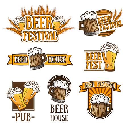 cerveza: Conjunto de color de logotipos, iconos, signos, insignias, etiquetas y cerveza. Diseño de la plantilla para un bar, pub, fiesta de la cerveza. Tazas de cerveza y trigo. Ilustración vectorial