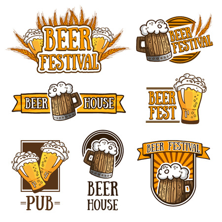 Set of color logos, icons, signs, badges, labels and beer. Template design for a bar, pub, beer festival. Beer mugs and wheat. Vector illustration Stock Illustratie