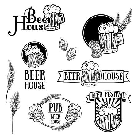beer house: Set of vintage monochrome retro logos, icons, signs, badges or labels of beer. Template design for a bar, pub, beer festival. Beer mugs, hops, malt. Vector.
