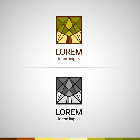logo with triangular elements. Silhouette of a tree. Flat polygons. Color and monochrome versions. Vector.