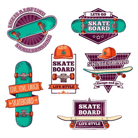 Set of vintage color logos, badges, badges, labels, stickers with skateboard and cap. Retro style. Vector.