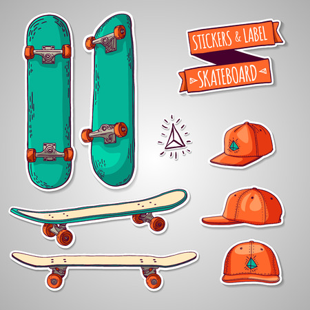 Set of colored stickers and labels with skateboards and caps. For labels, logos, icons. Vector.