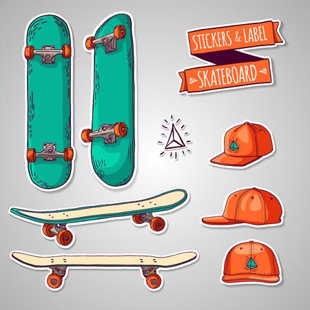 Jeu d'autocollants de couleur et des étiquettes avec des planches à roulettes et casquettes. Pour les étiquettes, logos, icônes. Vecteur.
