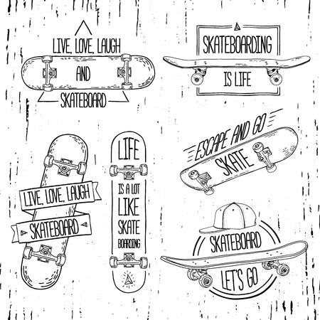 Set of linear, modern logos, signs, badges, labels, stickers with skateboard and cap. Geometric shapes. Hand-style. Grungy texture. Vector.