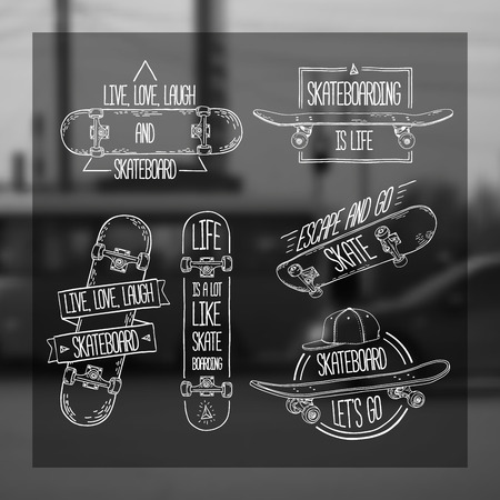 skateboard: Set of linear, modern logos, signs, badges, labels, stickers with skateboard and cap. Geometric shapes. Blur monochrome background with urban city photos. Hand-style. Vector.