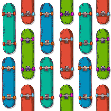 skateboard: Seamless vertical background with a pattern of colored skateboard. Vector.