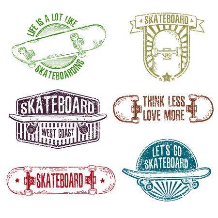 스케이트 보드와 모자 빈티지 색상 로고, 배지, 배지, 라벨, 스티커의 집합입니다. 레트로 스타일. 지저분한 질감. 벡터.
