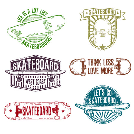skateboard: Set of vintage color logos, badges, badges, labels, stickers with skateboard and cap. Retro style. Grungy texture. Vector.
