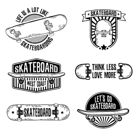 deck: Set of vintage black and white logos, badges, badges, labels, stickers with skateboard and cap. Retro style. Vector.