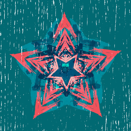 flimsy: Background with abstract geometric elements. Silhouette of stars. Grunge texture. Ethnic style. To print on T-shirts. Vector