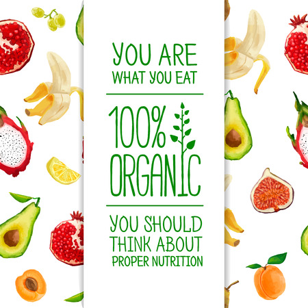 Template design a banner with the background of the fruit. Vector. Place for your text Çizim