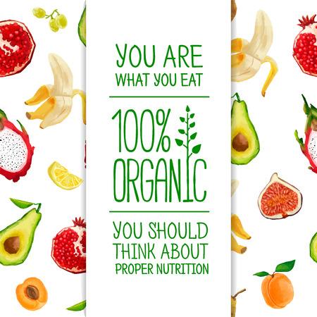 naturel: Template Design une bannière avec le fond du fruit. Vector. Placez pour votre texte