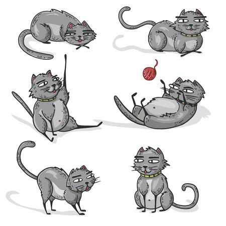 lay: Set of gray cartoon cats. Cats play and sleep or lay. Vector