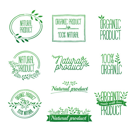 stamps: Badges and laurels green branches. Organic and eco natural design template. Hand drawing. Vintage vector, green colors.