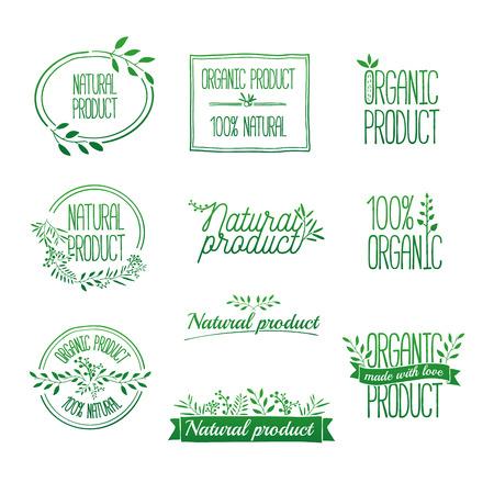 productos naturales: Insignias y laureles ramas verdes. Plantilla Orgánica y diseño natural ecológico. Dibujo a mano. Vector de la vendimia, los colores verdes. Vectores