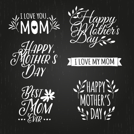 Set of monochrome of simple retro badges, labels, signs to celebrate Mothers Day. Floral elements. Vector Illustration