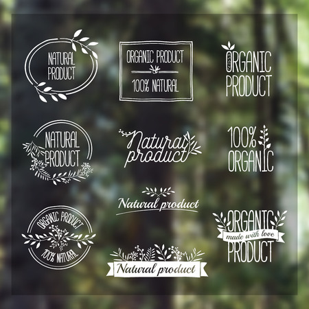 Badges, labels, ribbons, plants elements, wreaths and laurels, branches. Organic natural design template. Hand drawing. Vintage vector on blurred background forest Ilustração