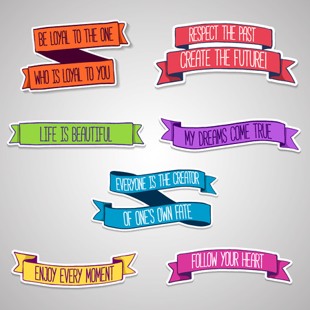 motivating: Set of colored stickers. Ribbons with motivating text. Vector