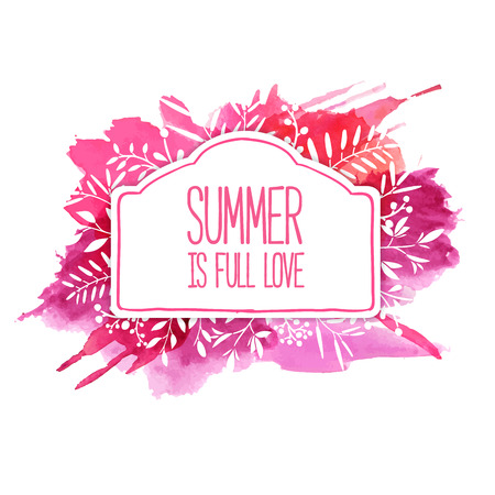 text frame: Beautiful banner or label. Summer background. Ornament from leaves, berries, twigs, plants, herbs. Pink background from watercolor stains. Vector. Place for your text. Illustration