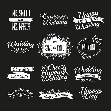 date stamp: Set of wedding vintage retro signs, labels, stickers. Typographical background with floral ornaments, ribbons, frames. Vector