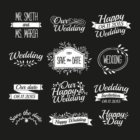 Ślub: Zestaw ślubne Vintage retro znaków, etykiet, naklejek. Typograficzny tło z kwiatu ozdoby, wstążki, ramek. Wektor